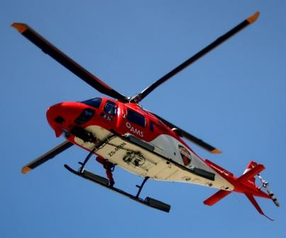 The AMS EMS helicopter forming part of the search for a person missing near Cradock Peak in George.