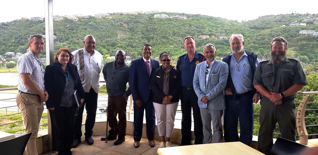 From left are: Mr Johan Compion (GRDM), Ms Nina Viljoen (GRDM), Mr Clive Africa (GRDM), Cllr Khayalethu Lose (GRDM), Executive Mayor Melvin Naik (George Municipality), Deputy Mayor Charlotte Clarke (George Municipality), Mr Neels Barnard (George Municipality), Mr Walter Hendrikz (George Municipality), Mr Radie Loubser (George Municipality) and Mr Jonathan Britton (SANParks).